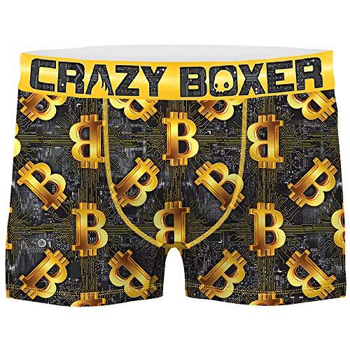 Crazy Boxer T468-1-M Talla M: Boxer UNITARIO-BITCOIN-microfibra-92% poliéster Reciclado, 8% Elastano, 1pc T468-1, 10/12 para Hombre