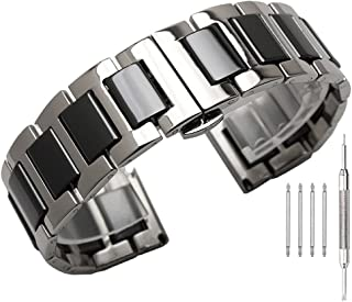 Stainless Steel Ceramic Watch Band Links 18mm/20mm/22mm Watch Wrist Bands Mens Watch Bracelet with Butterfly Buckle