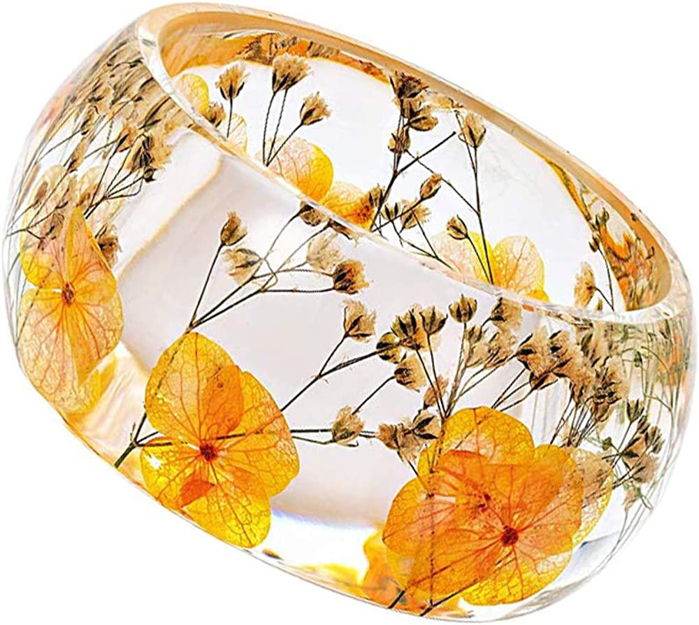 Natural Dry Flower Bracelet Resin Chunky Plastic Manufacturer OFFicial shop Ranking TOP4 Stateme Acrylic