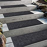Aucuda Stair Treads with Rubber Backing,Non-Slip,8.5' x 30',4 pcs/Set,Indoor Outdoor Step treads,Grey Stripes Pattern