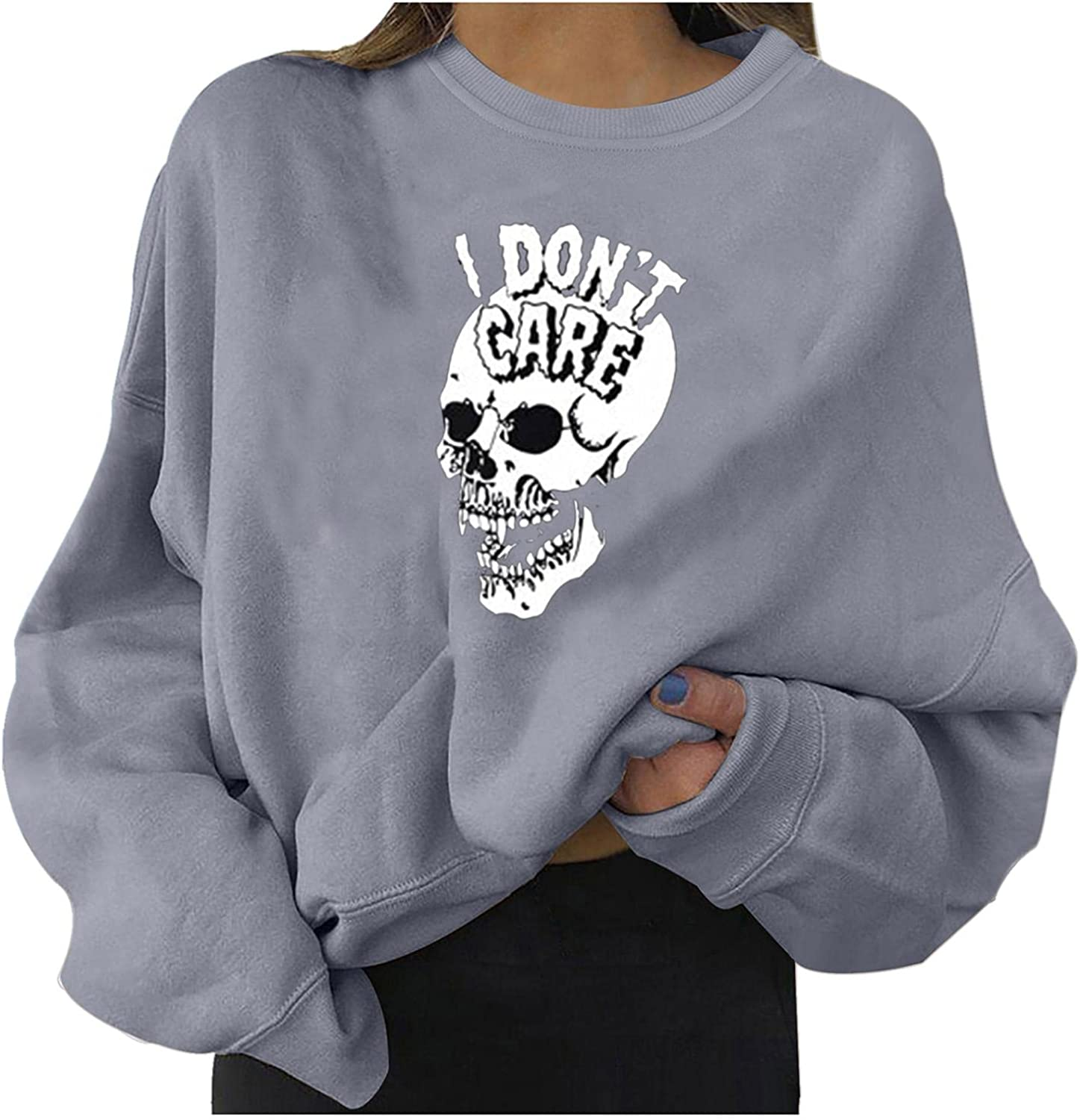 Halloween Sweatshirts for Women Casual Long Sleeve Halloween Skeleton I Don't Care Fashion Crewneck Pullover Sweater Top