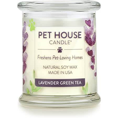(Lavender Green Tea, Pack of 1) - One Fur All 100% Natural Soy Wax Candle, 20 Fragrances - Pet Odour Eliminator, 60-70 Hrs Burn Time, Non-toxic, Eco-Friendly Reusable Glass Jar Scented Candles - Pet House Candle, Lavender Green Tea