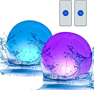 Solar Floating Pool Lights Ball with Remote,2-Pack14-inch LED Lights Inflatable, Waterproof Color Changing Hangable Ball L...