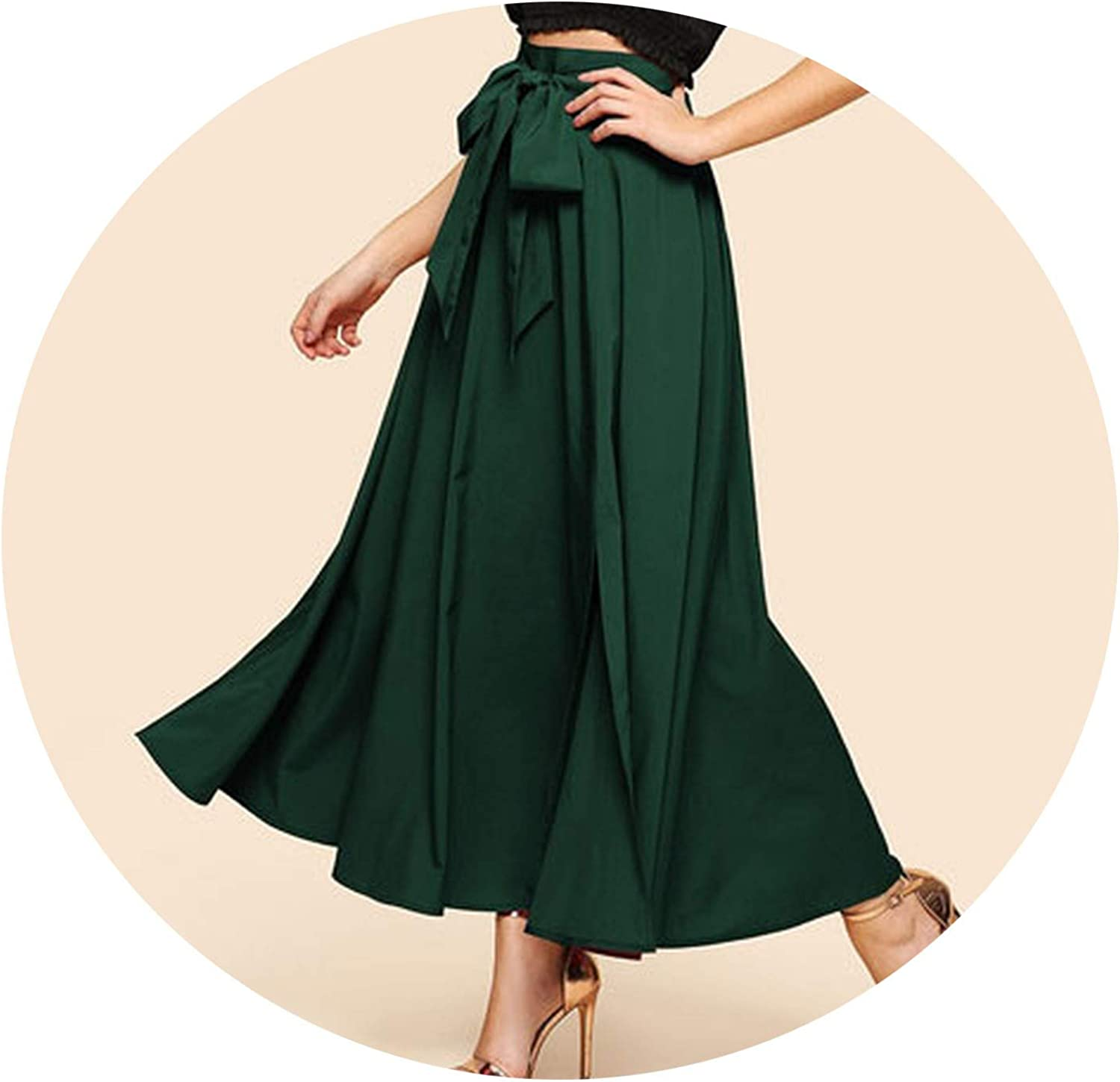 colorfulspace Elegant Bow Knot Front Flare Maxi Skirt Women High Waist Plain Vintage Full Length Party Skirt