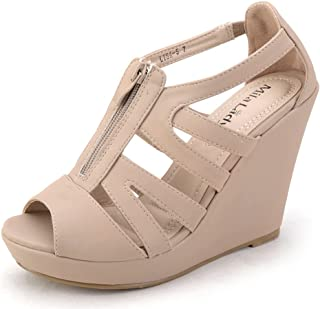 Lisa 5 Zippered Strappy Open Toe Platform Wedges Heeled Sandals Shoes for Women