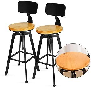 Kaibrite Lot de 2 tabourets de bar rétro pivotants en bois Hauteur réglable Avec dossier Pour bar bistor café cuisine