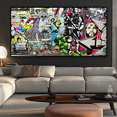 WIOIW Banksy Pop Graffiti Street Wall Art Abstract Cartoon Animal Celebridad Lienzo Pintura Carteles e Impresiones Imagen Sala de Estar Dormitorio Estudio Decoración del hogar