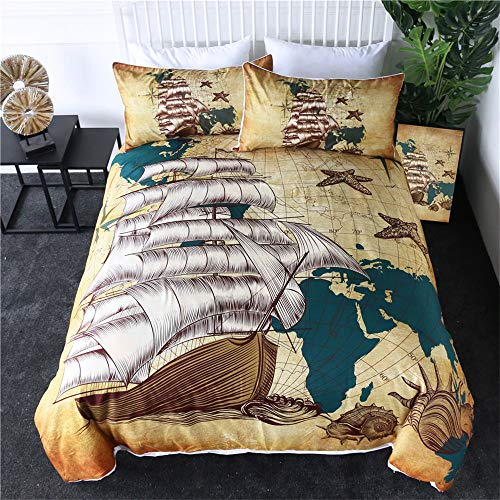 Sailing Ship Bedding Set Nautical Map Quilt Cover World Map Retro Bedclothes Oceans Shells Brown Bedspreads 3Pcs,210cmx210cm