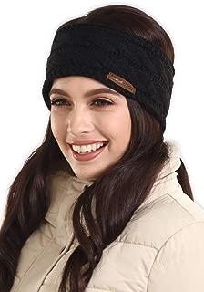 Womens Cable Knit Ear Warmer Headband - Winter Fleece Lined Headwrap by Brook + Bay