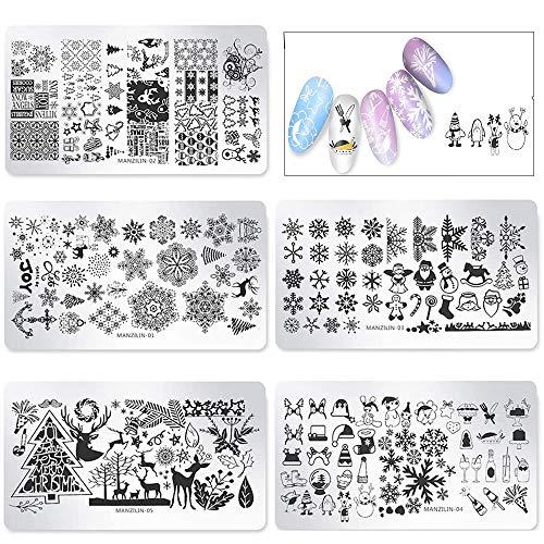 Limeow Nail Sticker Template Piatti Natale Timbratura Nail Art Accessori Natale Nail Stamping Plate Nail Art Stamping Stampini 5 Pezzi per Nail Art Decoration e DIY Strumenti per lo styling