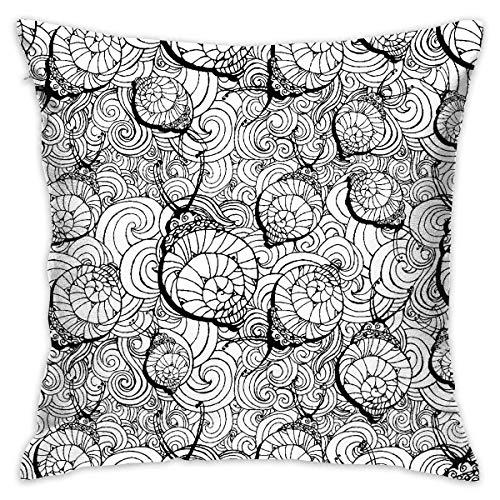 ZCHW Prydnadskudde överdrag sniglar mönster säng soffa kudde fodral sovkudde mjukt kuddöverdrag 45 x 45 cm