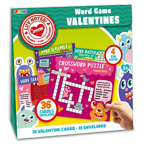 Cheapest Prices! JOYIN 36 Pack Valentines Day Gift Cards of Word Game Cards for Classroom Exchange P...