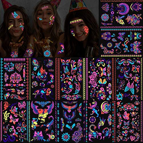 Konsait 135pcs Butterfly Tattoos UV neon Temporary Tattoos for Girl, Blacklight Bohemia Aztec Skull Heart Eagle Owl Scorpion Totem Lace Temporary Tattoos rave Fluorescence Fake Tattoos Stickers
