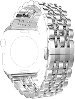 Compatible with Apple Watch Band 38mm Series 3 2 1 40mm Series 5 4 Stainless Steel Iwatch Band, PUGO TOP iPhone Watch Bracelet Band for Women Men(38/40mm, Silver)