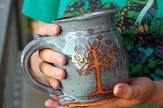 Hand Thrown Stoneware Pottery Mug with Tree of Life Mug or Tree of Gondor