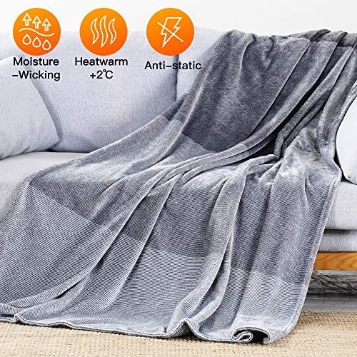 Luxear Kuscheldecke Flauschige Decke Fleecedecke, Tagesdecke mit Wärmespeicher-Technologie, Extra weich & warm Wohndecke in Wohnzimmer, Sofadecke Couchdecke TV (150 x 200 cm)