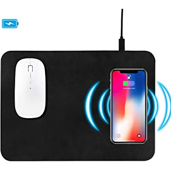 Wireless Charging Mouse Pad, Fast Wireless Charging mat,10W QI Wireless Mouse Pad for Samsung Galaxy S10/S9/S8 Plus Note 9/8 iPhone Xs Max/XR/X/XS/8/8 Plus (Black-1)