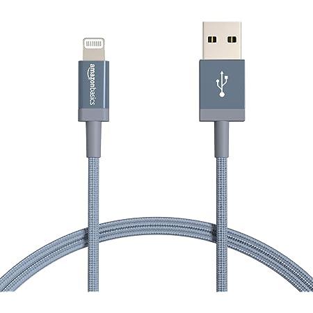 Amazon Basics - Cavo di ricarica Lightning/USB-A, certificato MFi, in nylon intrecciato, per iPhone, grigio scuro, 0,9 m