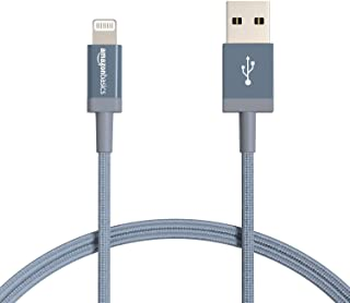 Amazon Basic Lightning 電纜 尼龍編織組 USB MFi認證 iPhone充電線 深灰色 0.9米 2根裝