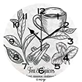 AmaUncle Print Round Wall Clock, 10 Inch Green Black Herbal Tea Plant Leaf with Spices Cardamom Cinnamon Mint Quiet Desk Clock for Home,Office,School No44074