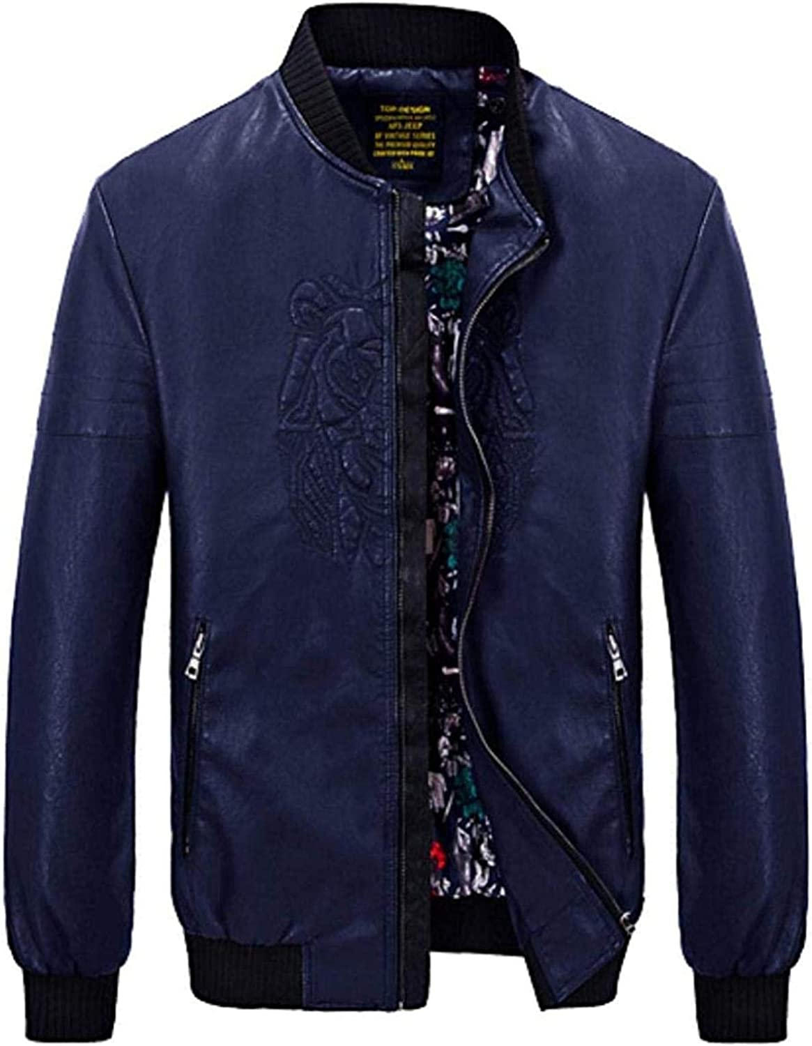 Men Stand Collar Blue Don't miss the campaign Mesa Mall Leather Jackets Office Wo Coat Windbreaker