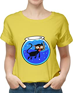 cat in aquarium New modern T-shirt for women TSW-3990