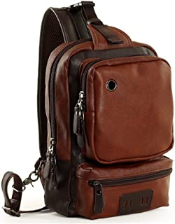 Toupons Men's Unbalance Chest Pack Leather Multipurpose Backpack Crossbody Shoulder Bag Travel Sling Bag