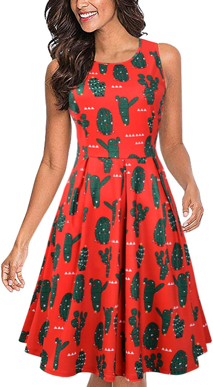 CUQY Womens Christmas Festival Prints Sleeveless A Midi Flared Tank Pockets Dress