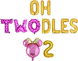 Oh Twodles Birthday Balloons, Pink Oh Twodles Balloon Birthday Banner Minnie Mouse Party Supplies Number 2 Balloon for 2nd...