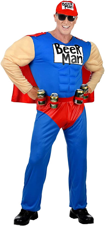 NET TOYS Lustiges Beerman-Kostüm für Männer   Blau-Rot in Größe XL (54)   Witzige Herren-Verkleidung Bier-Kostüm Superheld   Genau richtig für Straßenkarneval & Mottoparty B07H7WQWTV Guter Markt  | Roman