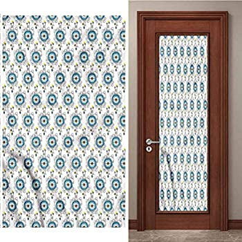 3D Door Stickers PVC Self-Adhesive Wall Stickers Tattoo Aquarelle Compass Travel Stickers PVC Wallpaper Easy to Clean and Simple to Remove W35.4 x L78.7 Inch