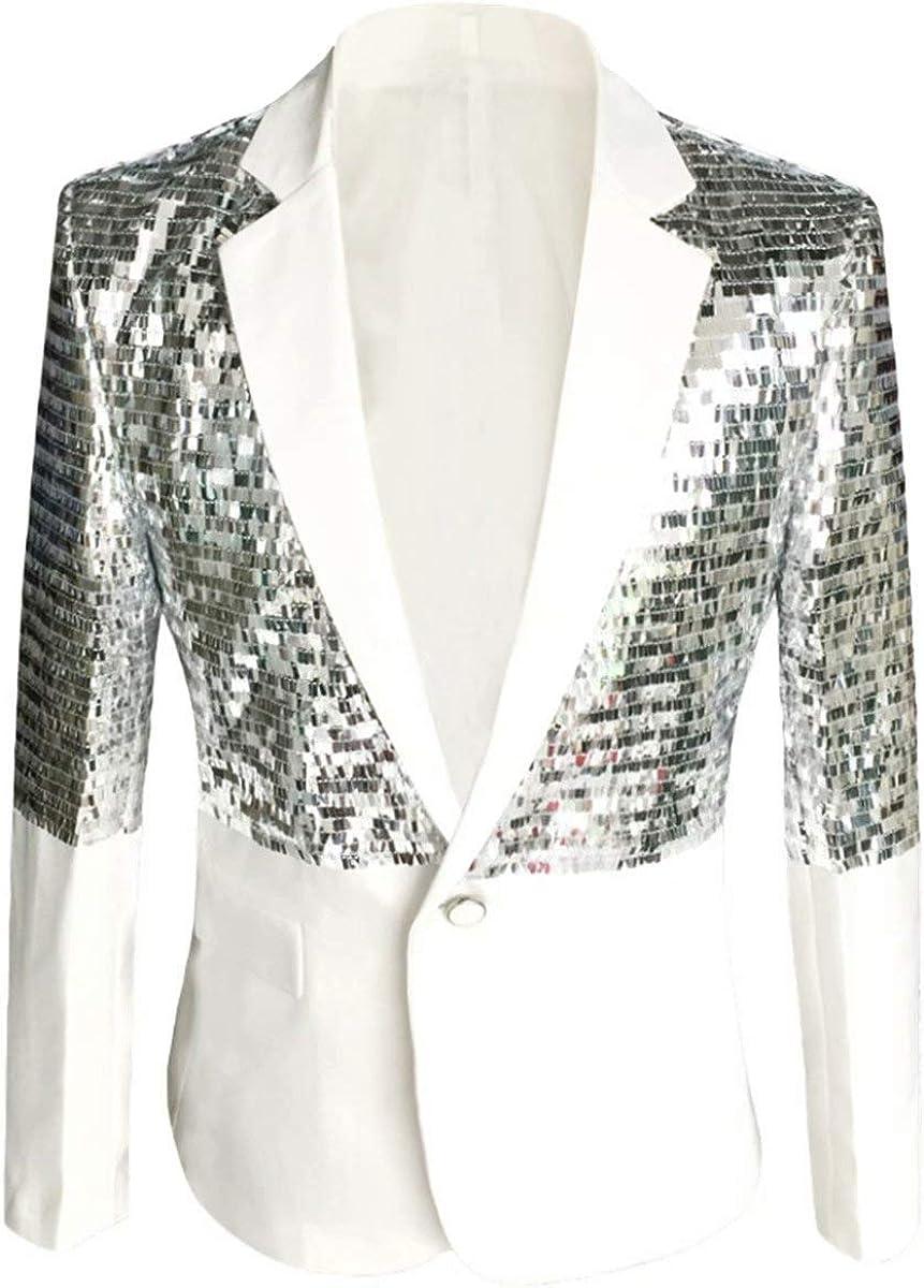 Men's Shiny Sequin Suit Jacket Tux Banquet Prom 1 Button Blazer Dress Coat