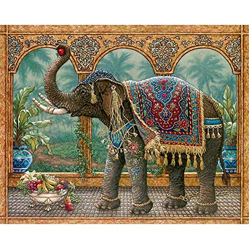 DIY 5d Diamond Painting Kit Elefante Resina Full Drill Diamante Pintura Crystal Rhinestone Adults Punto Cruz Bordado Lienzo Pictures Para Pared Del Hogar Decoración Crafts 30x40cm/12x16in E5551