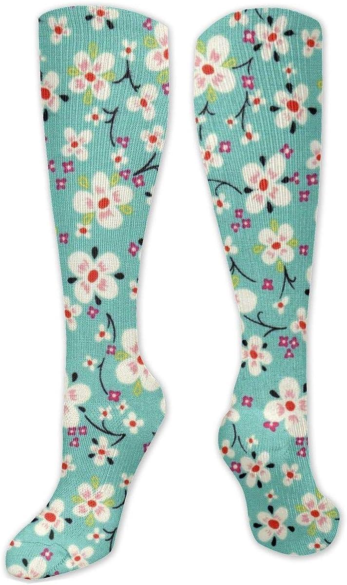 Plum Blossom Art Knee High Socks Leg Warmer Dresses Long Boot Stockings For Womens Cosplay Daily Wear