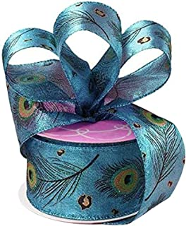 2-12-Inch Feathered Stripes Iridescent Edge Satin Wired Ribbon 10-Yard