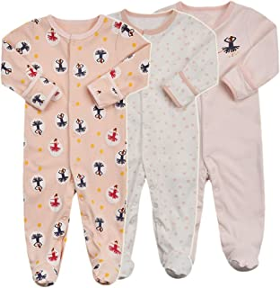 Baby Footed Pajamas with Mittens - 3 Packs Infant Girls Boys Footie Onesies Sleeper Newborn Cotton Sleepwear Outfits