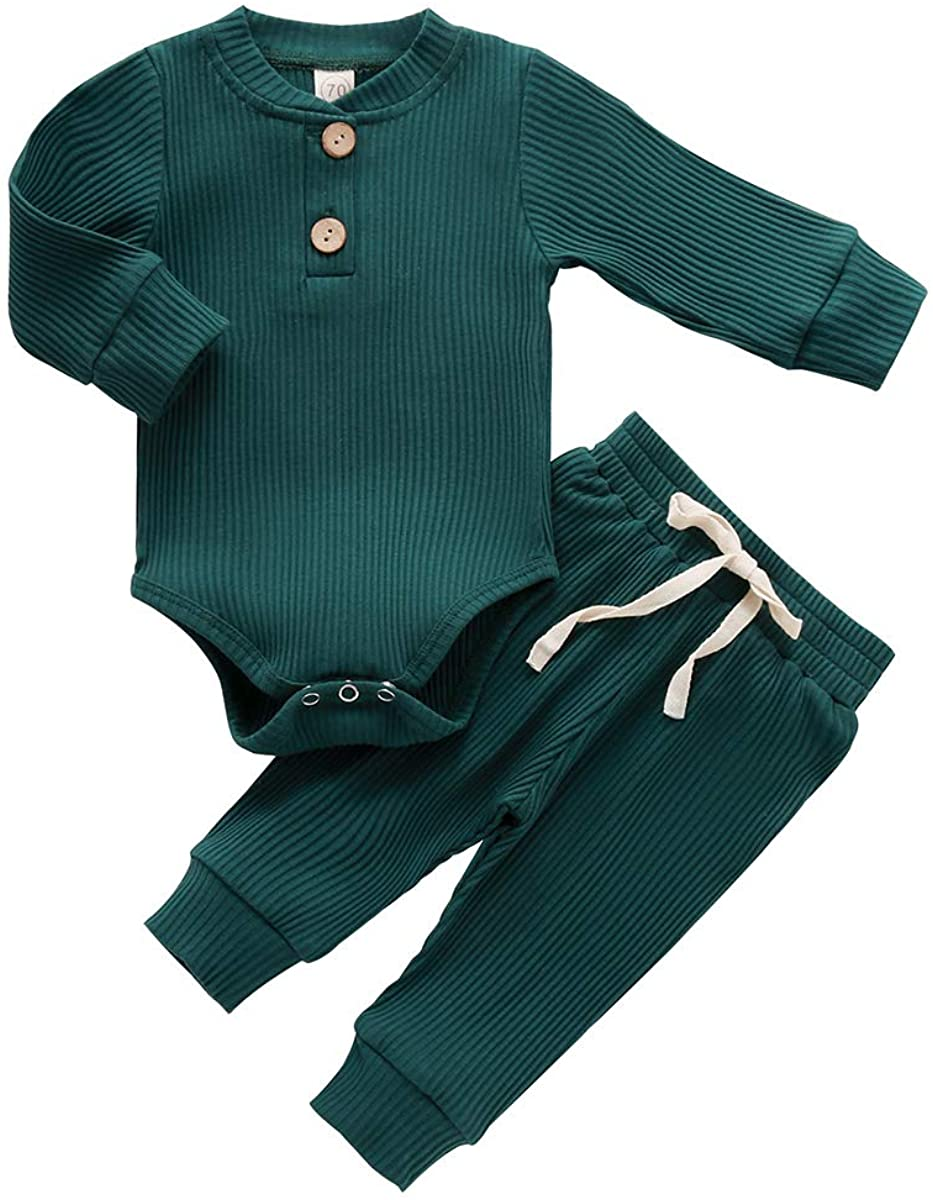 Newborn Baby Girl Boy Fall Clothes 3 6 12 18 24 Months Outfits Long Sleeve Knitted Cotton Romper & Pants Infant Winter Sets