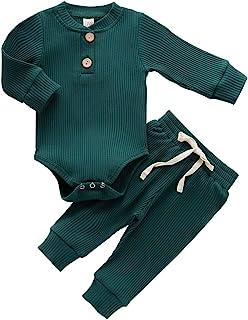 Newborn Infant Baby Boy Girl Fall Pajamas Set Solid Color Button Long Sleeve Romper Bodysuit + Pants Clothes Set Sleepwear