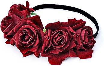 DreamLily Rose Flower Crown Wedding Festival Headband Hair Garland Wedding Headpiece