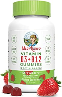 Vegan Vitamin D3+B12 Gummy (Plant-Based Gummies) by MaryRuth's - Made w/Organic Ingredients Non-GMO Vegan Paleo Gluten Fre...