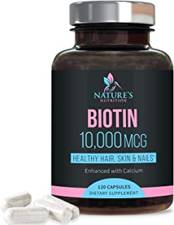 Biotin Supplement 10000mcg Extra Strength - Supports Hair Growth - Made in USA - Hair Skin and Nails Vitamins for Women an...