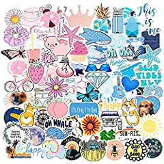 QUALITY OF VSCO STICKERS : Waterproof, Snow protection and Anti-sun,Glossy and Bright,Thick and Durable. Indoors and Outdoors use. Easy to stick repeatedly or peel it off and there won't be any residues. WHERE TO USE VSCO STICKERS : Cute waterproof s...
