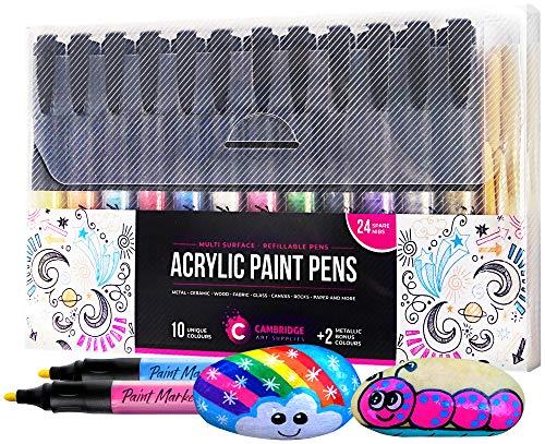 12 Refillable Acrylic Paint Pens Incl Replacement Fibre Tips - Paint...