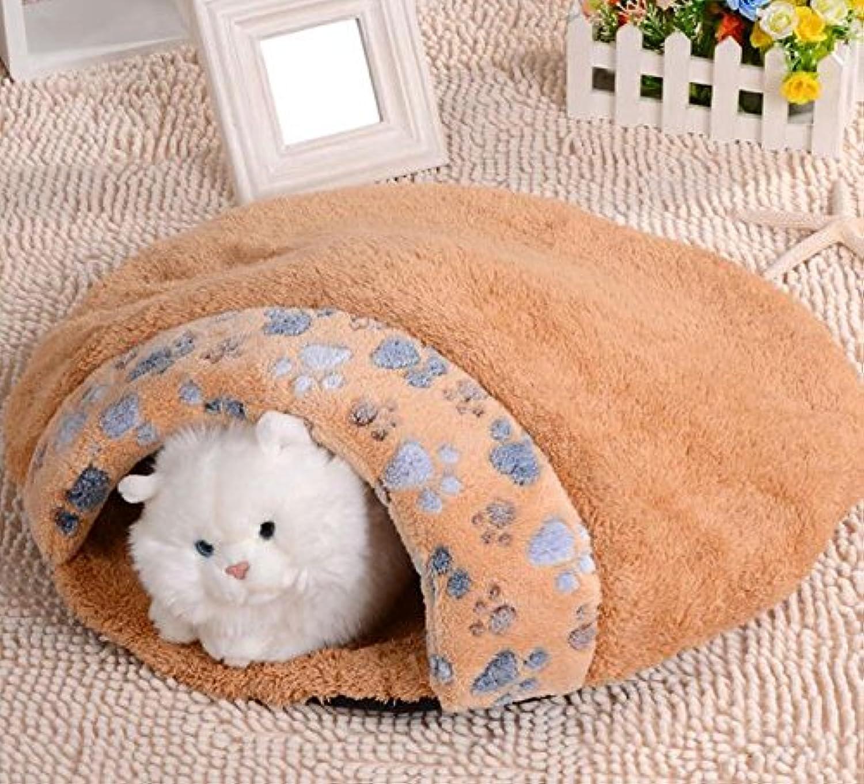 Cat Warmer Mat Super Thick Super Soft Waterproof Paw Print Cat Sleeping Bag Pet Nest Pet Supplies Brown