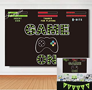 TJ Video Game On Party Theme Photography Background Boy Baby Shower Birthday Party Black Backdrops Cake Table Decorations Banner Photo Studio Booth Props 7x5FT Vinyl