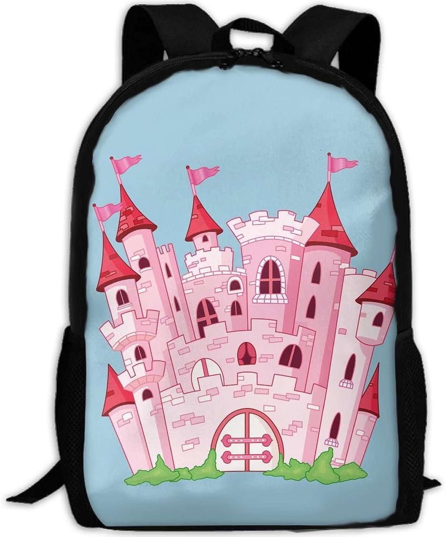 Backpack Laptop Travel Hiking School Bags Pink Cartoon Castle Daypack Shoulder Bag