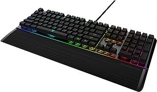 ThunderX3 AK7CHB - Teclado gaming mecánico (RGB 16.8 millones de colores, 11 efectos de luz, tiras Led en la parte superior e inferior, switch Cherry AZUL, teclas macro programables) color negro
