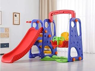 طقم ارجوحة ولعبة انزلاق بالوان متعددة مع حلقة للعب الكرة، مناسبة لداخل المنزل او خارجه من ناتشر هوم