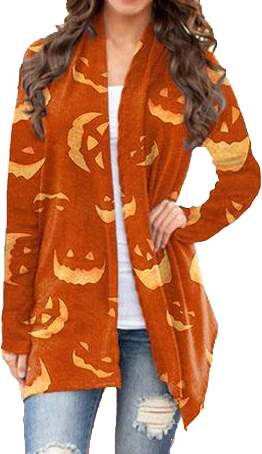 Jaqqra Womens Halloween Long Sleeve Open Front Cardigan Slouchy Cute Spider Web Ghost Print Tops Lightweight Coat