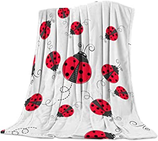 FortuneHouse8 Flannel Fleece Blanket Red Ladybug Super Soft Warm Cozy Bed Couch or Car Throw Blanket for Children Adult Travel All Reason 40x50inch